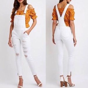 Dollhouse White Distressed Denim Overalls